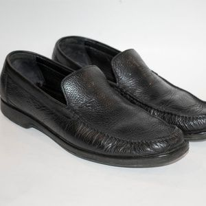 A. Testoni Italian Black Leather Loafers